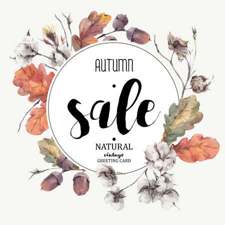 Autumn vintage bouquet of twigs, cotton flower, yellow oak leaves and acorns. Botanical illustrations. Sale card. Isolated on white background Иллюстрация