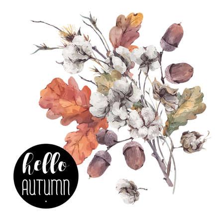 나뭇 가지, 목화 꽃, 노란색 오크 잎과 도토리의 가을 빈티지 꽃다발입니다. 식물 그림입니다. 인사말 카드. 흰색 배경에 고립