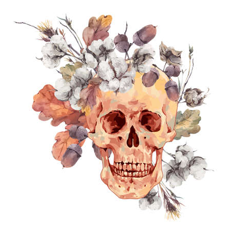 cotton flower: Skull and twigs, cotton flower, yellow oak leaves, Illustration Day of The Dead