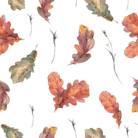 Autumn vintage bouquet of twigs, yellow oak leaves. Botanical watercolor seamless pattern
