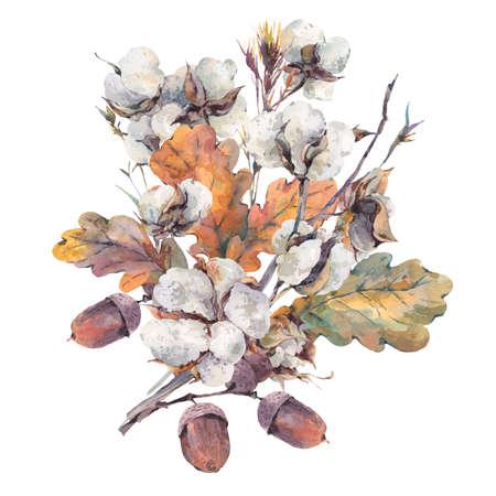 小枝、綿の花、黄色のカシの葉およびドングリの水彩秋のヴィンテージの花束。植物の水彩イラスト。グリーティング カード。白い背景に分離