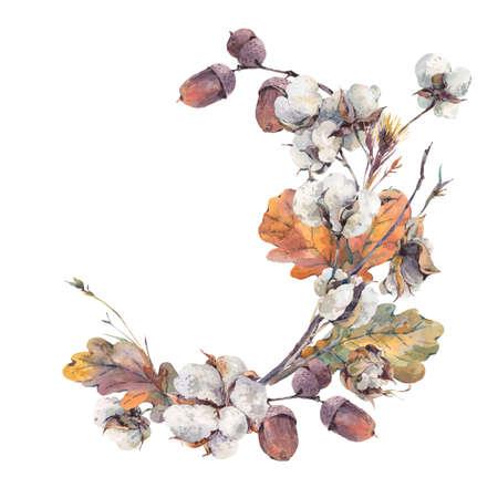 Acuarela del otoño Corona de cosecha de ramas, flores de algodón, hojas de roble y bellotas de color amarillo. acuarelas botánicas. Tarjeta de felicitación. Aislado en el fondo blanco