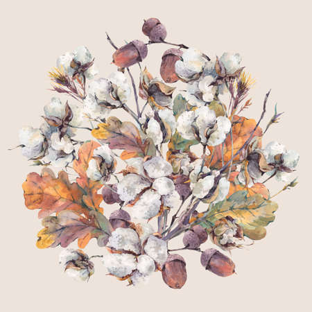 Watercolor autumn vintage round bouquet of twigs, cotton flower, yellow oak leaves and acorns. Botanical watercolor illustrations. Greeting card. Isolated on white background