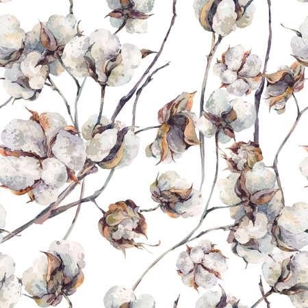 小枝と綿の花の水彩画のビンテージ花束。植物の水彩のシームレスなパターン。