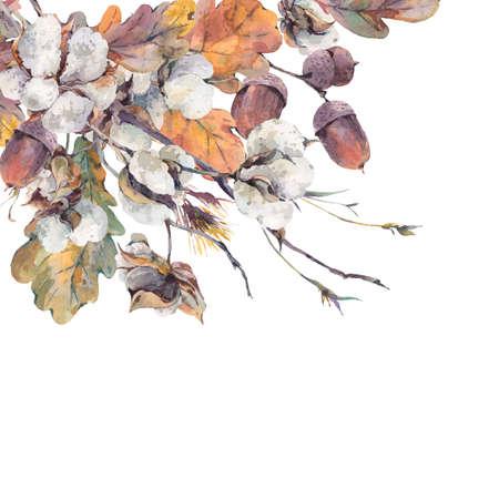 Akvarell höst vintage bukett kvistar, bomull blomma, gula ek löv och ekollon. Botaniska vattenfärg illustrationer. Gratulationskort. Isolerad på vit bakgrund Stockfoto