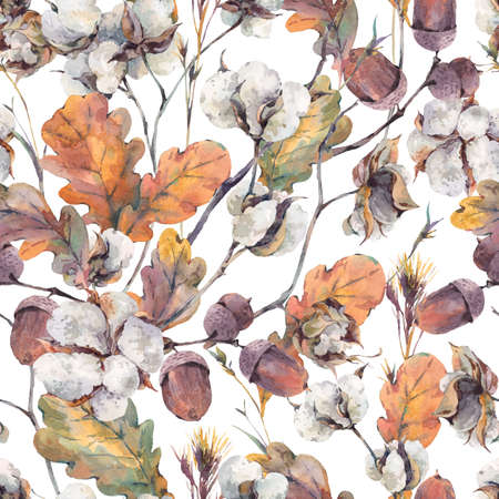 Watercolor autumn vintage bouquet of twigs, cotton flower, yellow oak leaves and acorns. Botanical watercolor seamless pattern