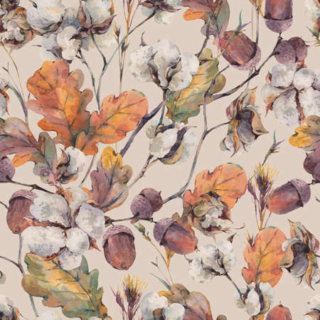 Waterverf het najaar vintage boeket van twijgen, katoen bloem, geel eiken bladeren en eikels. Botanische aquarel naadloos patroon Stockfoto