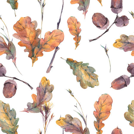 Watercolor autumn vintage bouquet of twigs, yellow oak leaves and acorns. Botanical watercolor seamless pattern