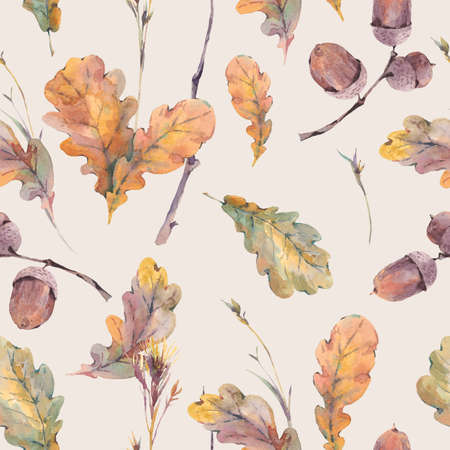 oak leaves: Watercolor autumn vintage bouquet of twigs, yellow oak leaves and acorns. Botanical watercolor seamless pattern