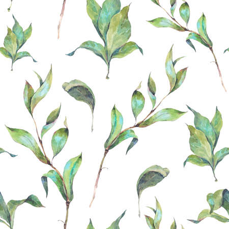 twigs: Vintage hand drawn watercolor seamless pattern with leaves and twigs. Watercolor natural illustration