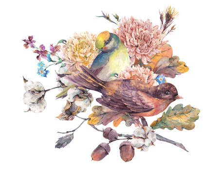 yellow card: Vintage watercolor pair of birds with autumn bouquet of twigs, cotton flower, yellow oak leaves, chrysanthemum and acorns. Botanical floral illustrations. Greeting card Isolated on white background Stock Photo