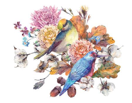 Acuarela de los pares de la vendimia de las aves con el ramo del otoño de ramas, flores de algodón, hojas de roble amarillo, crisantemo y bellotas. ilustraciones florales botánicas. tarjeta de felicitación aislada en el fondo blanco