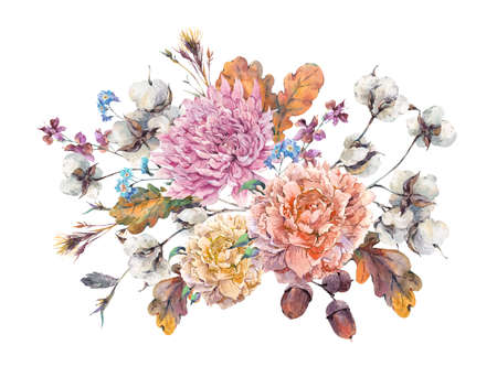 Vintage watercolor autumn bouquet of twigs, cotton flower, yellow oak leaves, chrysanthemum, peonies and acorns. Botanical floral illustrations. Greeting card Isolated on white background