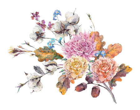 cotton bud: Vintage watercolor autumn bouquet of twigs, cotton flower, yellow oak leaves, chrysanthemum, peonies and acorns. Botanical floral illustrations. Greeting card Isolated on white background