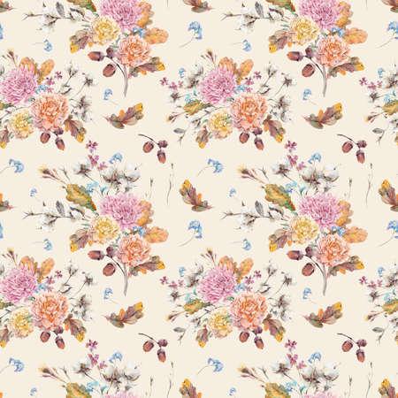 Vintage aquarelle automne seamless avec des brindilles, fleur de coton, feuilles de chêne jaune, chrysanthème, pivoines et de glands. illustrations florales botaniques. Banque d'images