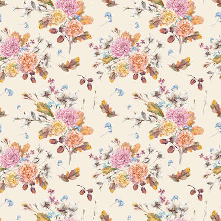 autumn tree: Vintage watercolor autumn seamless pattern with twigs, cotton flower, yellow oak leaves, chrysanthemum, peonies and acorns. Botanical floral illustrations. Stock Photo