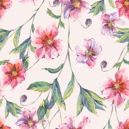fiori di campo: Acquerello vintage background senza soluzione di continuità floreale con fiori e ramoscelli rosa, naturale botanico acquerello illustrazione