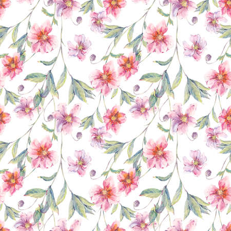 wildflowers: Watercolor vintage floral seamless background with pink wildflowers and twigs, natural botanical watercolor illustration