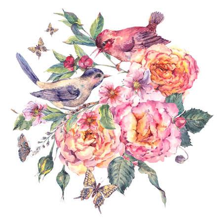 dessin fleur: Vintage aquarelle carte florale. Oiseaux et rose. Blooming branche avec douces fleurs roses, des papillons et des brindilles. Naturel aquarelle illustration botanique isolé sur blanc Banque d'images