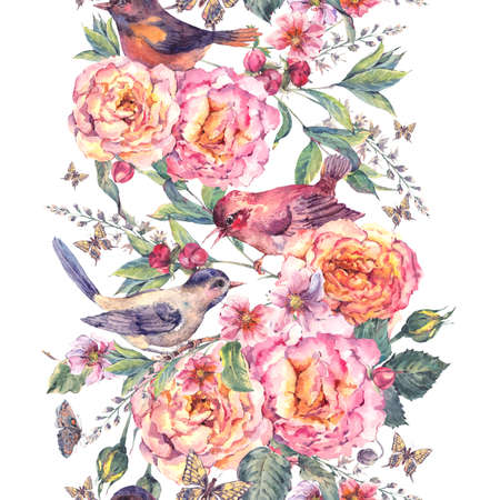 Vintage waterverf bloemen naadloze grens. Vogels en roos. Bloeiende tak met zachte roze bloemen, vlinders en takjes. Natuurlijke botanische waterverfillustratie