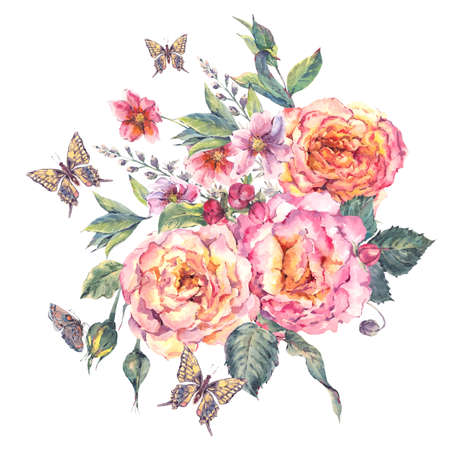 butterfly flower: Classical vintage floral greeting card, watercolor blooming roses and butterflies, botanical natural watercolor illustration on white background