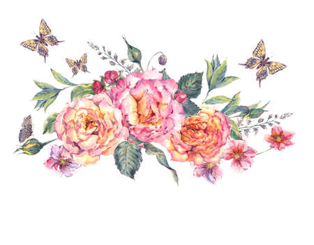 vintage rose: Classical vintage floral greeting card, watercolor blooming roses and butterflies, botanical natural watercolor illustration on white background