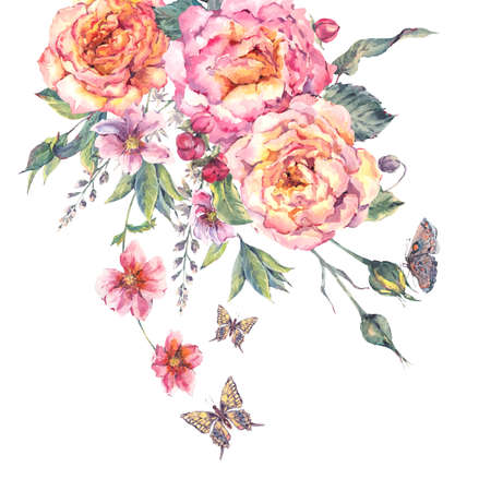 vintage floral: Classical vintage floral greeting card, watercolor blooming roses and butterflies, botanical natural watercolor illustration on white background