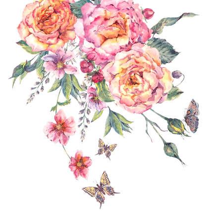 Klassieke vintage floral wenskaart, aquarel bloeiende rozen en vlinders, botanische natuurlijke aquarel illustratie op een witte achtergrond Stockfoto