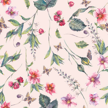 pink floral: Watercolor vintage floral seamless background with pink wildflowers and butterflies, natural botanical watercolor illustration Stock Photo