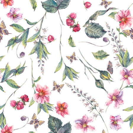 Watercolor vintage floral seamless background with pink wildflowers and butterflies, natural botanical watercolor illustration Stock Photo