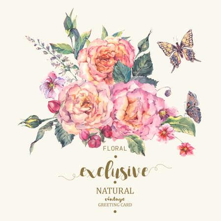 Tarjeta clásica de la vendimia floral saludo, ramo de rosas, flores silvestres y mariposas, ilustración naturales botánico en estilo de la acuarela en el fondo blanco Ilustración de vector