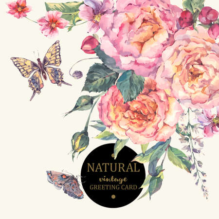 fleurs des champs: millésime classique carte de voeux florale, bouquet de roses, des fleurs sauvages et papillons, illustration botanique naturel dans le style d'aquarelle sur fond blanc