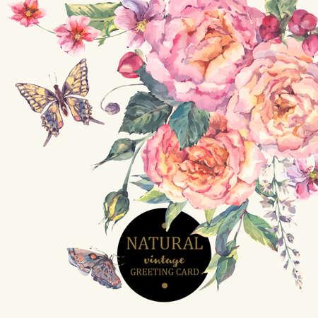 Tarjeta clásica de la vendimia floral saludo, ramo de rosas, flores silvestres y mariposas, ilustración naturales botánico en estilo de la acuarela en el fondo blanco