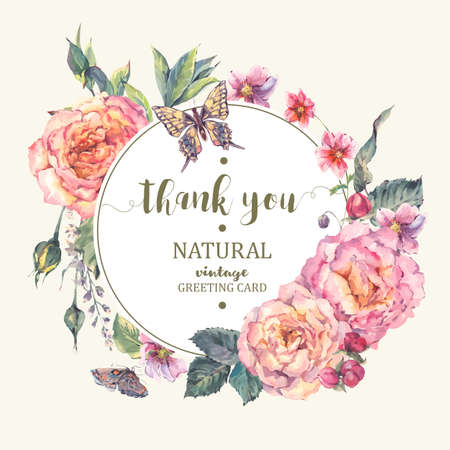 Classical vintage floral greeting card, bouquet of roses, wildflowers and butterfly, botanical natural illustration in watercolor style on white Background Иллюстрация
