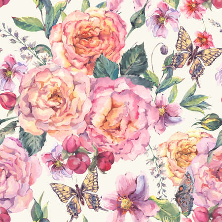 Classical vintage floral seamless background with roses, wildflowers and butterfly, botanical natural illustration in watercolor style Ilustração
