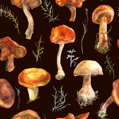 fall harvest: Watercolor vintage mushrooms seamless pattern. Fall harvest forest mushrooms. Natural autumn botanical illustration.