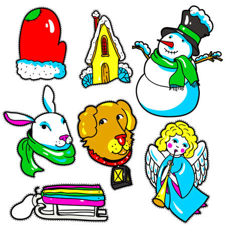 dog sled: Set of New Year stickers, pins, patches in 80s-90s comic style. Fashion badges with mitten, house, snowman, rabbit, dog, sled, angel. Cartoon Christmas vector elements