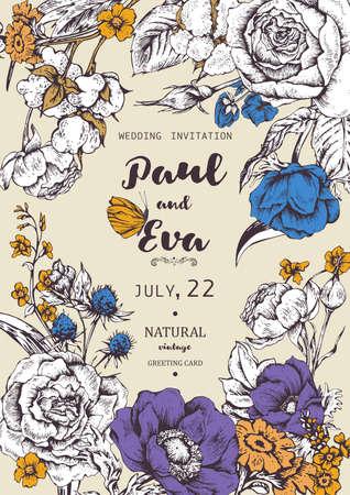 invitation floral vintage vecteur de mariage avec des roses, des anémones et des fleurs sauvages, des anémones naturels botaniques et roses Illustration. Nature cadre cru floral Vecteurs