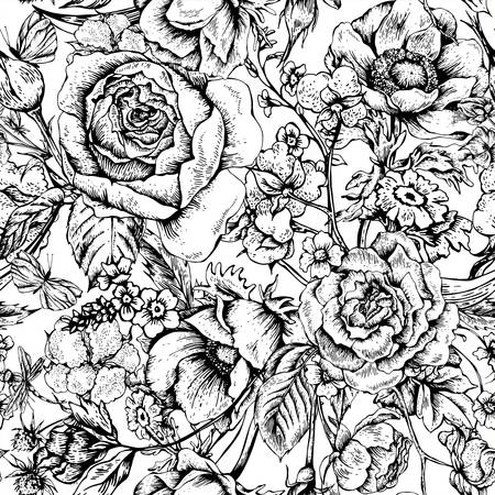 Vintage floral vector seamless pattern with roses, anemones, butterfly and wildflowers, botanical natural anemones and roses Illustration. Black and white