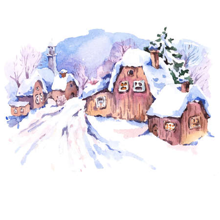 snow landscape: Cozy countryside watercolor winter landscape. Fairytale winter watercolor illustration. Vintage hand painted card with old houses