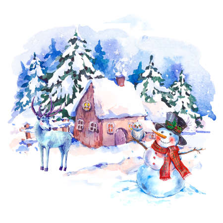 old houses: Cozy countryside watercolor winter landscape. Fairytale winter watercolor illustration. Vintage hand painted card with old houses, deer and snowman.