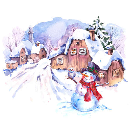 Cozy countryside watercolor winter landscape. Fairytale winter watercolor illustration. Vintage hand painted card with old houses, deer and snowman.