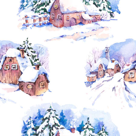 old houses: Winter countryside watercolor seamless background. Fairytale winter watercolor illustration. Vintage hand painted landscape card with old houses. Stock Photo