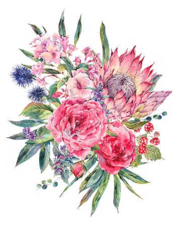 Classica annata floreale biglietto di auguri, acquarello mazzo di rose, il Protea, Stachys, cardi, more e fiori di campo, botanico acquarello naturale illustrazione isolato su sfondo bianco Archivio Fotografico - 65137290