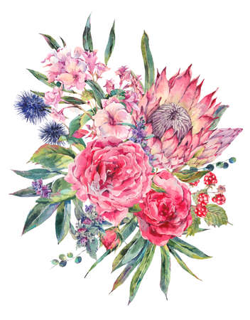 Classical vintage floral greeting card, watercolor bouquet of roses, protea, stachys, thistles, blackberries and wildflowers, botanical natural watercolor illustration isolated on white Background Stock Photo