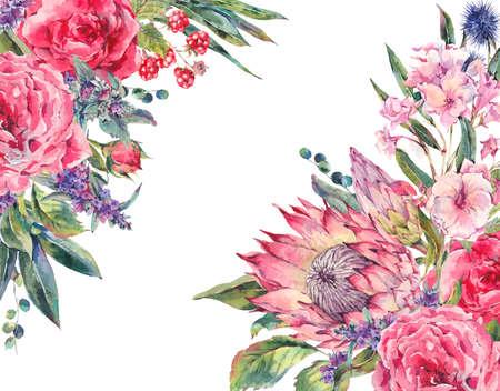 Klassieke vintage floral wenskaart, waterverf boeket rozen, protea, stachys, distels, bramen en wilde bloemen, botanische natuurlijke aquarel illustratie geïsoleerd op een witte achtergrond