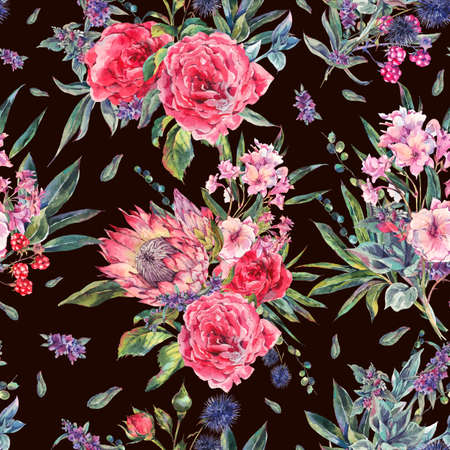 botanical gardens: Classical vintage floral seamless pattern, watercolor bouquet of roses, protea, stachys, thistles, blackberries and wildflowers, botanical natural watercolor illustration on white background