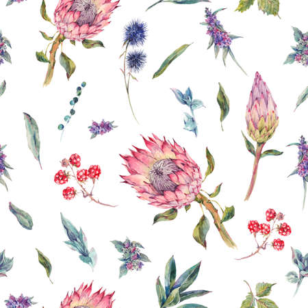 victorian vintage: Classical vintage floral seamless pattern, watercolor bouquet of roses, protea, stachys, thistles, blackberries and wildflowers, botanical natural watercolor illustration on white background