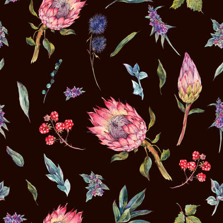 floral vintage: Classical vintage floral seamless pattern, watercolor bouquet of roses, protea, stachys, thistles, blackberries and wildflowers, botanical natural watercolor illustration on black background