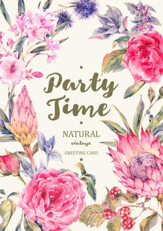 장미, 프로 테아, 다구, 엉겅퀴, 블랙 베리와 야생화의 꽃다발 빈티지 세로 프레임 벡터 카드, 수채화 스타일 식물 자연 그림